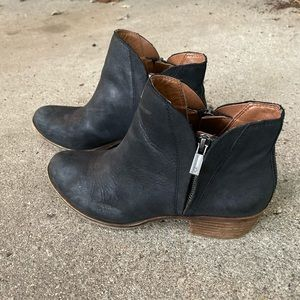Lucky Brand Black Leather Basel Ankle Booties
